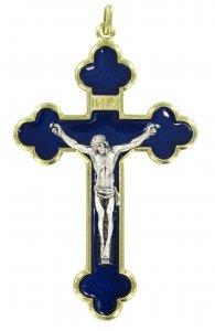 Copertina di 'Croce in metallo dorato con smalto blu - 4 cm'