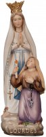 """Statua in legno """"Madonna di Lourdes con corona e Bernadette"""" - altezza 24 cm"""