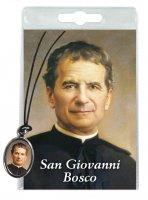 Medaglia San Giovanni Bosco con laccio e preghiera in italiano