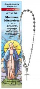 Copertina di 'Bracciale rosario Madonna Miracolosa con 11 grani in argento da 4 mm con croce'