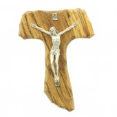 Tau in legno con corpo di Cristo in metallo - altezza 15 cm