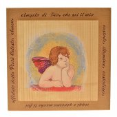 """Quadretto in legno con angioletto in rilievo e preghiera """"Angelo di Dio"""""""