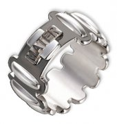 Anello rosario argento colore brunito e decine argento lucido mm 17
