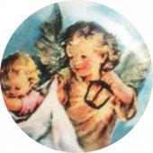 Immagine di 'Medaglia Angelo Custode ovale in porcellana con profilo in argento - 3 cm'