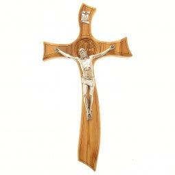 Copertina di 'Croce di san Benedetto in legno d'ulivo e stile moderno - dimensioni 21x11 cm'