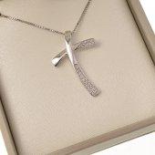 Collana con croce minimal in strass e catenina in argento 925