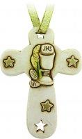 Croce in resina con calice e stelle cm 8,5