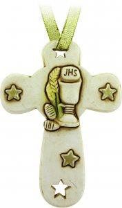 Copertina di 'Bomboniera comunione bambino/bambina: croce in resina - 8,5 cm'