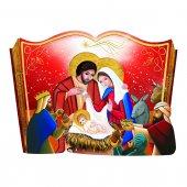 Libro sagomato con Natività in lamina oro - dimensioni 11x15 cm