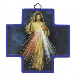 """Copertina di 'Croce in legno con lamina oro """"Gesù Misericordioso"""" - dimensioni 12x12 cm'"""