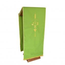 Copertina di 'Coprileggio verde con spiga, uva e scritta IHS ricamate'