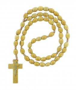 Copertina di 'Rosario con grani ovali in legno grezzo mm 8 con legatura in seta'