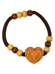 """Copertina di 'Bracciale elastico con cuore in legno """"Con cristo il cuore è sempre giovane""""'"""