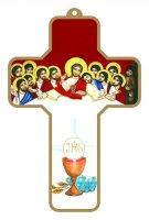 Croce bianca e rossa con Calice e Ultima Cena con bordo dorato (cm 9x13)
