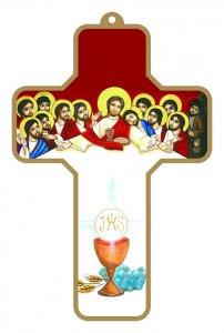 Copertina di 'Croce bianca e rossa con Calice e Ultima Cena con bordo dorato (cm 9x13)'