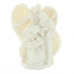 Copertina di 'Natività con angelo in blocco di resina bianca - altezza 14 cm'