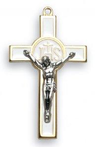 Copertina di 'Croce in metallo dorato con smalto bianco e Cristo argentato - 7,5 cm'