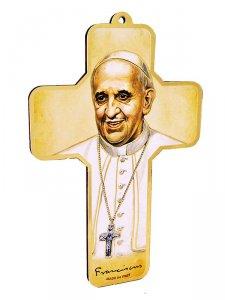 """Copertina di 'Croce con disegno """"Papa Francesco"""" - altezza 13 cm'"""