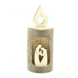 """Copertina di 'Corteccia a forma di candela con """"Natività"""" intagliata - altezza 10 cm'"""