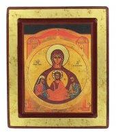 Icona degli sposi - Nostra Signora dell'Alleanza, produzione greca in legno - 19 x 16 cm