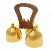 Immagine di 'Gruppo di tre campanelli in ottone dorato con manico in legno - dimensioni 15x17 cm'