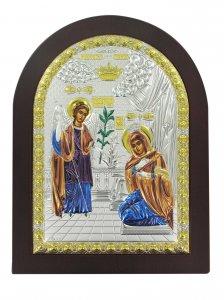 Copertina di 'Icona Annunciazione Greca a forma di arco con lastra in argento - 20 x 26 cm'