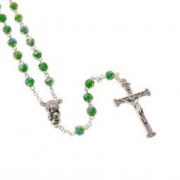 Copertina di 'Rosario in cristallo smeraldo con croce in metallo color argento - grani sfaccettati 5 mm'