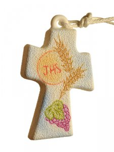 Copertina di 'Confezione ricordo Comunione con crocetta da collo effetto pietra'
