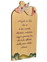"""Quadretto in legno """"Angelo di Dio"""" - dimensioni 18x9 cm"""
