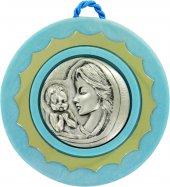 Sopraculla in argento 925 raffigurante la Madonna col bambino (azzurro) Ø 9 cm
