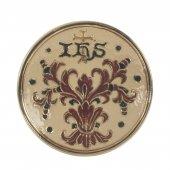 """Patena in ceramica simbolo IHS """"Modello Deruta Marrone oro graffito"""" - 15 cm"""
