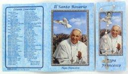 Copertina di 'Libretto Rosario con immagine di papa Francesco e coroncina'