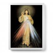"""Quadro """"Gesù Misericordioso"""" con lamina oro e cornice minimal - dimensioni 44x34 cm"""