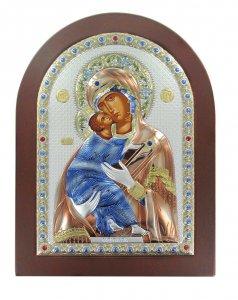 Copertina di 'Icona Madonna di Vladimir greca a forma di arco con lastra in argento - 20 x 26 cm'