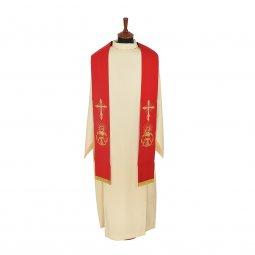 Copertina di 'Stola rossa con croce e simboli eucaristici ricamati'