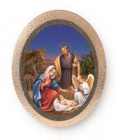 """Icona ovale in polimero con cavalletto """"Natività con angelo"""" - dimensioni 25x20 cm"""