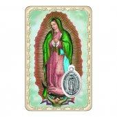 """Card """"Vergine di Guadalupe"""" con preghiera e medaglia - (10 pezzi)"""