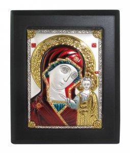 Copertina di 'Quadro Madonna di Kazan con lastra in argento 925 e smalto colorato - 8 x 6 cm'