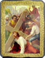 Quadro Via Crucis stampa su tavola - 20 x 15 cm