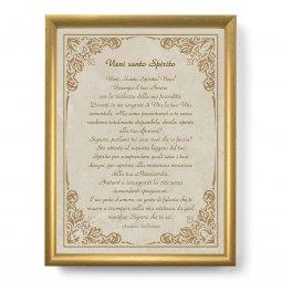 """Copertina di 'Quadro con preghiera """"Vieni santo Spirito"""" su cornice dorata - dimensioni 44x34 cm'"""