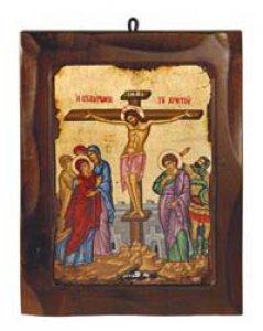 """Copertina di 'Icona in legno e foglia oro """"Crocifissione"""" - 18,5 x 23,5 cm'"""
