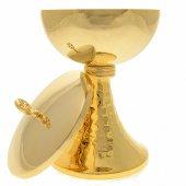 Immagine di 'Pisside in ottone dorato 24 carati con base martellata'