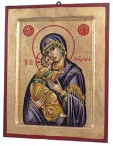 """Copertina di 'Icona in legno e foglia oro """"Maria Odigitria dal manto viola"""" - dimensioni 23x18 cm'"""