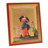 """Icona in legno e foglia oro """"Maria che scioglie i nodi"""" - dimensioni 7x6 cm"""
