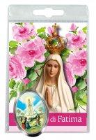 Calamita Madonna di Fatima in metallo nichelato con preghiera in italiano