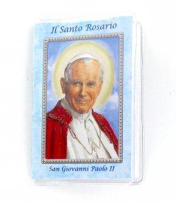 """Copertina di 'Libretto mini """"Santo Rosario"""" cm 6,5 x 9,5 - San Giovanni Paolo II'"""