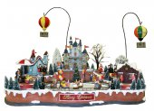 Villaggio natalizio con pista di pattinaggio e mongolfiere in movimento, luci, musica (65 x 49 x 49 cm)