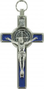 Copertina di 'Croce San Benedetto in metallo nichelato con smalto blu - 8 cm'