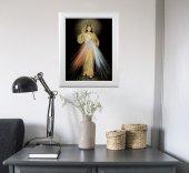 """Immagine di 'Quadro """"Gesù Misericordioso"""" con lamina oro e cornice con decorazione a sbalzo'"""
