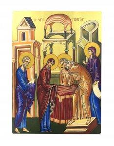Copertina di 'IconaPresentazione al Tempio dipinta a mano su legno con fondo orocm 19x26'